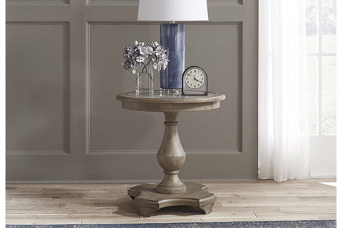 Miles Weathered Taupe Round Pedestal Base Chair Side Table With Gray Slate Top Insert