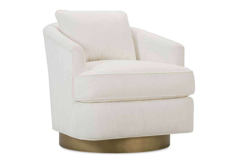 "Misty ""Designer Style"" Fabric Swivel Chair With Aged Brass Metal Base"