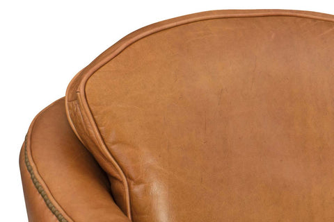 "Monte ""Quick Ship"" Leather Swivel Accent Chair With Tufted Details"