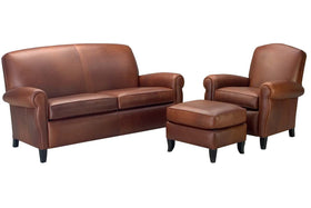 "Newport ""Designer Style"" Leather Studio Sofa Set"