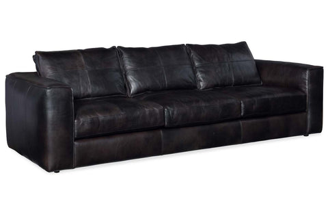 "Nico 113 Inch Graphite ""Quick Ship"" Grand Scale Top Grain Leather Pillow Back Sofa"