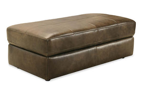 "Nico Taupe ""Quick Ship"" Oversized Storage Top Grain Leather Pillow Top Ottoman"
