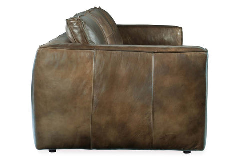 "Nico 113 Inch Taupe ""Quick Ship"" Grand Scale Top Grain Leather Pillow Back Sofa"