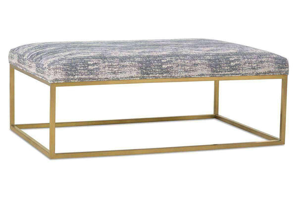 "Olson ""Designer Style"" Fabric Upholstered Coffee Table With Gold Finish Metal Base - Club Furniture"