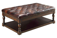 Ottomans And Benches Alfred Tufted Leather Coffee Table With Wood Storage Base