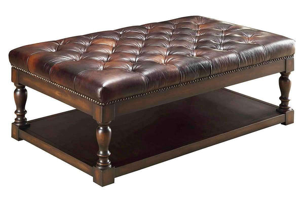 Alfred Tufted Leather Coffee Table With Wood Storage Base
