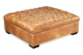 Oxford Square Deep Button Tufted Ottoman With Nailhead Trim
