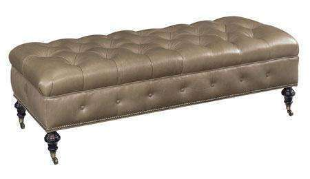 Ottomans & Benches Belport Long Deep Button Tufted Leather Coffee Table Bench