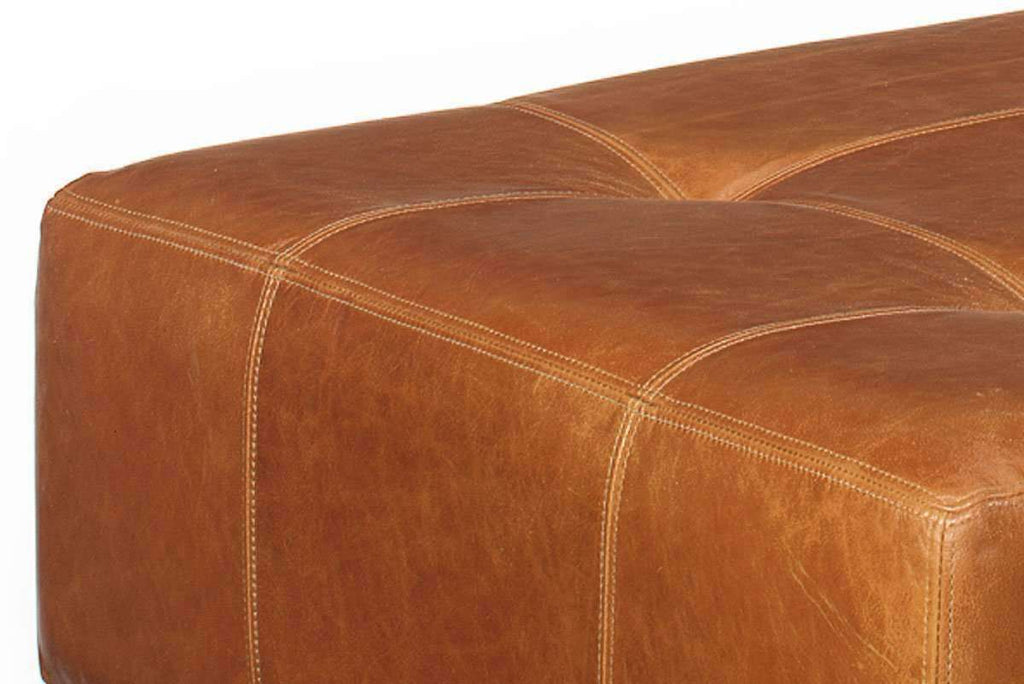 Felix Contemporary Leather Cocktail Bench Coffee Table Ottoman
