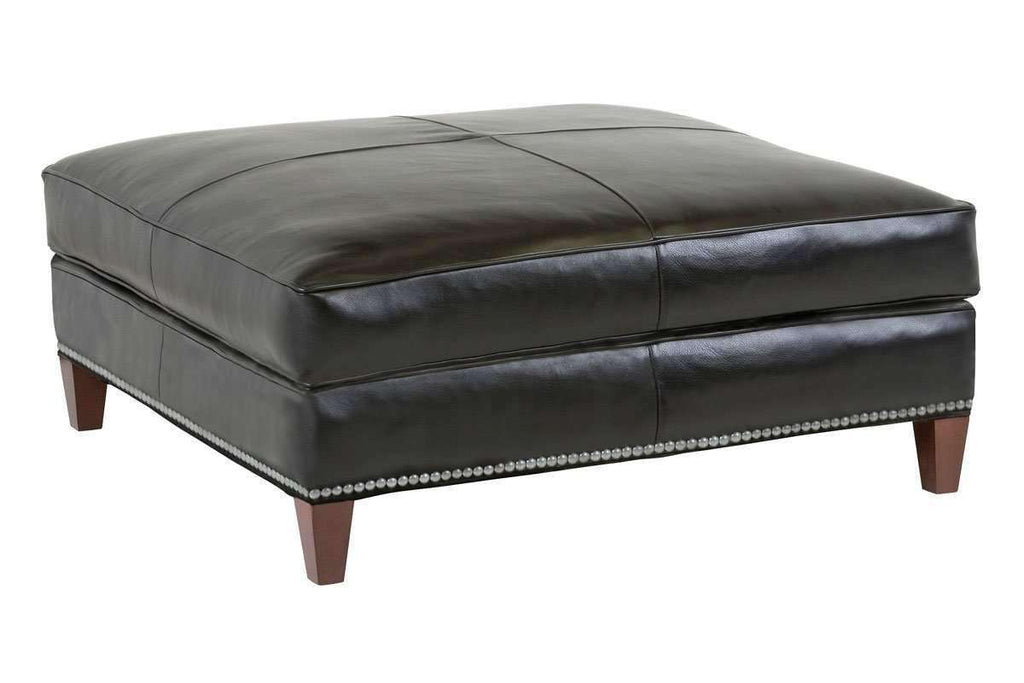 Ward Contemporary Large Square Leather Cocktail Ottoman