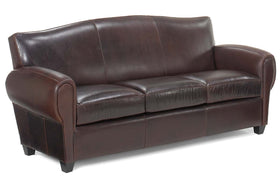 "Parisian ""Designer Style"" Leather Loveseat w/ Moustache Back"