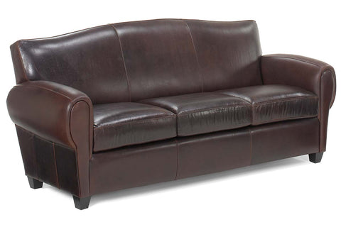 "Parisian 85.5 Inch ""Designer Style"" Art Deco Reproduction Leather Sofa"