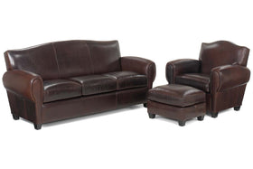 "Parisian ""Designer Style"" Leather Sofa Set"