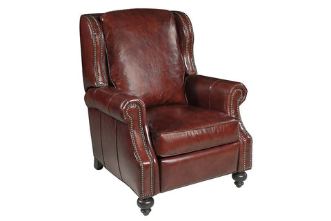 "Paulson Cornwall leather  ""Quick Ship"" Traditional Wing Back Leather Recliner"