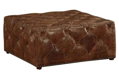 "Porter ""Quick Ship"" Square Leather Tufted Ottoman - Club Furniture"