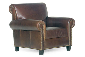 "Prescott ""Designer Style"" Traditional Leather Club Chair w/ Antiqued Brass Nailhead Trim"