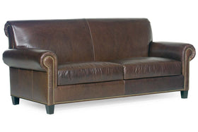 "Prescott ""Designer Style"" Leather Loveseat w/ Antiqued Brass Nailhead Trim"
