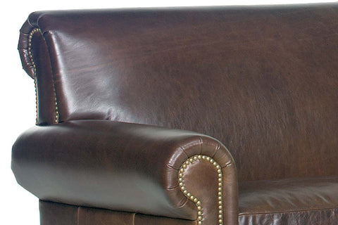 "Prescott 83 Inch ""Designer Style"" Traditional Two Seat Leather Sofa w/ Antiqued Brass Nailhead Trim"
