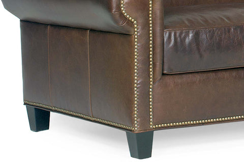 "Prescott ""Designer Style"" Leather Sofa Set w/ Antiqued Brass Nailhead Trim"