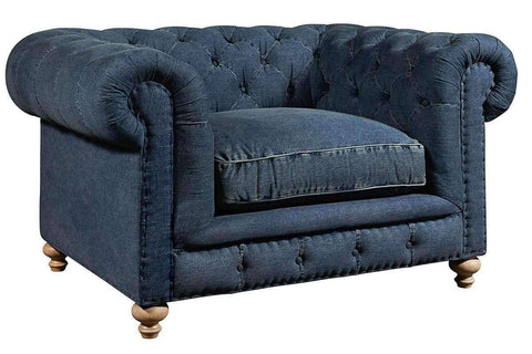 "Quick Ship Armstrong ""Quick Ship"" Denim Fabric Chesterfield Sofa Group"