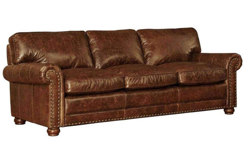 "Quick Ship Covington ""Quick Ship"" Leather Sofa With Nailheads Group"