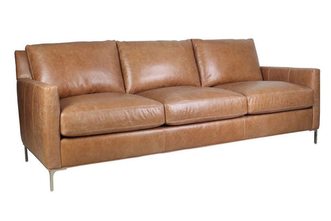 "Quincy 86 Inch ""Quick Ship"" Modern Top Grain Leather Pillow Back Sofa"
