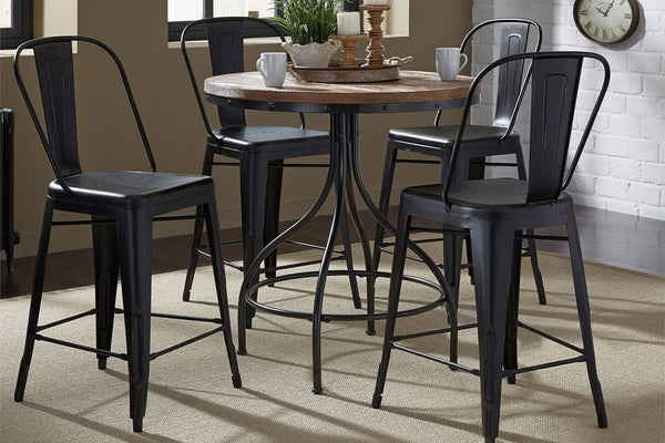 Reed 5 Piece Vintage Round Pub Table Set With Distressed Black Finish And Metal Bow Back Counter Chairs