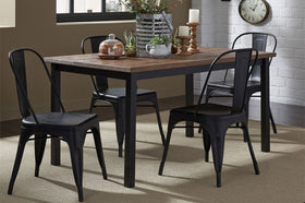 Reed 5 Piece Vintage Leg Table Set With Distressed Black Finish And Metal Bow Back Chairs