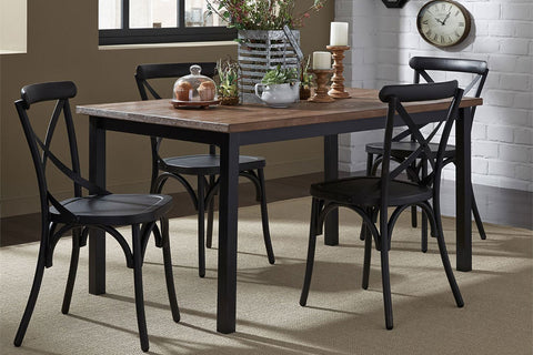 Reed 5 Piece Vintage Leg Table Set With Distressed Black Finish And X Back Chairs