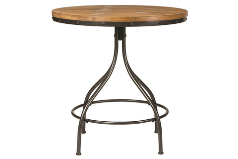 Reed 5 Piece Vintage Round Pub Table Set With Distressed Black Finish And Adjustable Drafting Stools