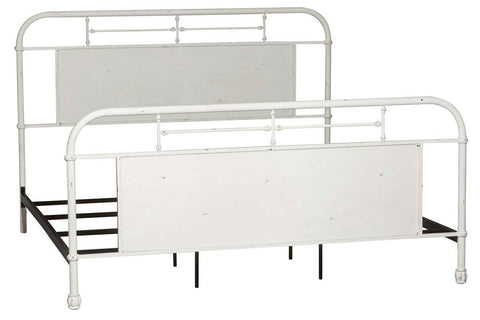 "Reed Queen Or King Antique White Metal Panel Bed  ""Create Your Own Bedroom"" Collection"