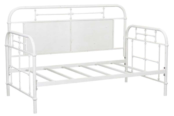 "Reed Twin Antique White Metal Daybed With Trundle ""Create Your Own Bedroom"" Collection"