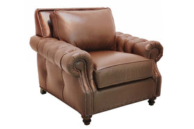 "Richardson ""Designer Style"" Tufted Arm Leather Club Chair With Nail Trim"