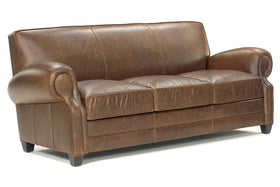 "Richmond 85 Inch ""Designer Style"" High End Leather Club Style Couch"
