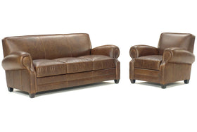 "Richmond ""Designer Style"" Leather Sofa & Recliner Set"