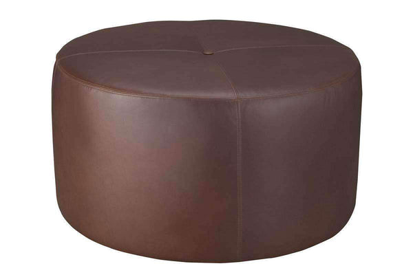 Ottomans & Benches Richter Round Drum Leather Upholstered Cocktail Ottoman