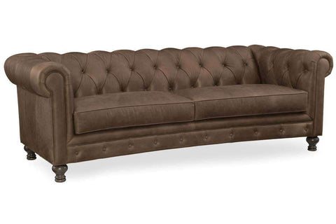 "Living Room Furniture Sofas Leather Robertson ""Quick Ship"" Tufted Leather Chesterfield Tight Back Traditional Sofa"