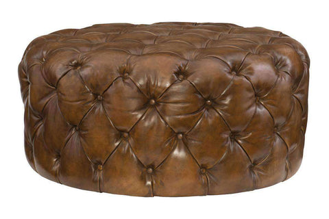 "Ottomans And Benches Rocco ""Quick Ship"" Large Round Tufted Leather Ottoman"