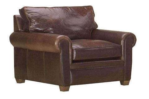 "Leather Furniture Rockefeller ""Designer Style"" Traditional Leather Chair And A Half"