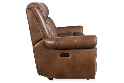 "Living Room Furniture Sofas Leather Rodney Carmel ""Quick Ship"" Power Reclining Leather Sofa With Power Headrest"