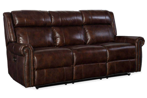 "Living Room Furniture Sofas Leather Rodney Chocolate ""Quick Ship"" Power Reclining Leather Sofa With Power Headrest"