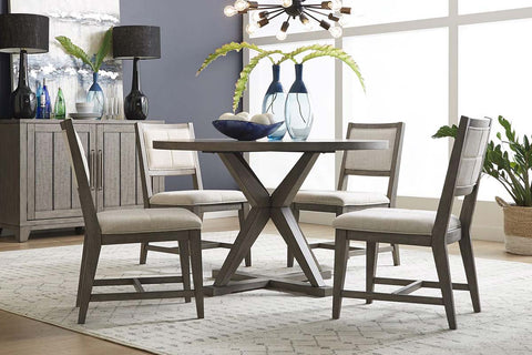Ronan Contemporary 5 Piece Round Pedestal Table Set In A Distressed Weathered Gray Finish