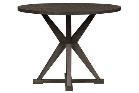 Ronan Contemporary 5 Piece Round Gathering Pedestal Table Set In A Distressed Weathered Gray Finish