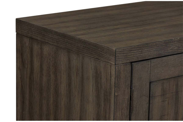 Ronan Contemporary Door Storage Buffet Server In A Distressed Weathered Gray Finish