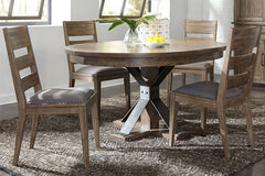 Rutherford 5 Piece Urban Living Pedestal Table Dining Set With Ladder Back Chairs