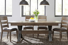 Rutherford 5 Piece Urban Living Trestle Table Dining Set With Ladder Back Chairs