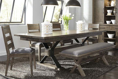 Rutherford 6 Piece Urban Living Trestle Table Dining Set With Ladder Back Chairs And Bench