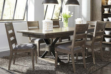 Rutherford 7 Piece Urban Living Trestle Table Dining Set With Ladder Back Chairs