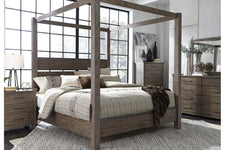 "Rutherford Queen Or King Industrial Style Canopy Bed ""Create Your Own Bedroom"" Collection"