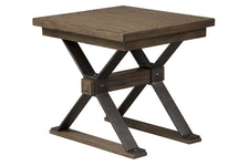Rutherford Industrial Style Antique Pewter Metal Base End Table With Weathered Bark Top